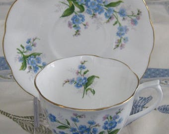 ROYAL ALBERT Forget Me Not English Bone China cup and saucer
