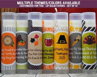 Thanksgiving Gift Ideas - Thanksgiving Ideas - Thanksgiving Gifts - Lip Balm Favors - Set of 10