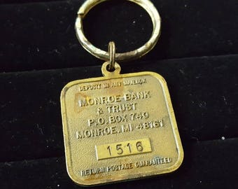 Interesting Vintage Bronze Key Fob Safety Deposit Box ID Tag with Patina