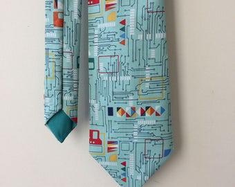 Circuit board tie, circuit print, circuit gift, geek tie, nerd tie, geek gift, quirky tie, engineer gift, teacher gift, gift for him