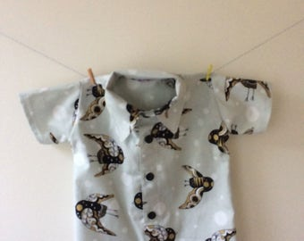 Owl shirt, owl top, owl clothes, owl print, owl gift, metalic print top, button down shirt, baby shirt, toddler shirt, boys shirt, baby gift