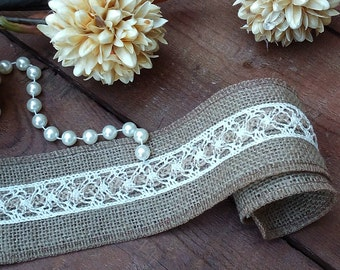 Jute Ribbon - Burlap and Lace ribbon -  Rustic Burlap Ribbon - Wedding Ribbon - Wedding Decor - Wedding Accessory - Rustic Wedding Decor
