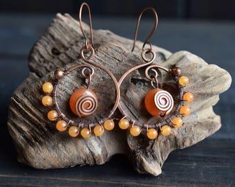 Amber Quartz Stone Earrings. Hoop Earrings. Boho Earrings. Dangle Earrings. Antiqued Copper. Amber Earrings. Boho Jewelry. Wire Wrapped.