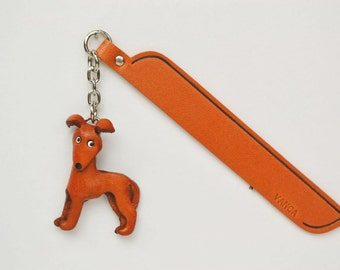Wippet Leather dog Charm Bookmark/Bookmarks/Bookmarker *VANCA* Made in Japan #61788 Free Shipping