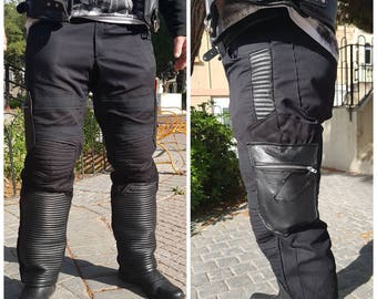 BittenSTC Post Apocalyptic Zombie Fallout Alternative Biker Black Lamb Skin  Leather and Cotton Men Mens Cargo Combat Pants Clothing