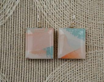 Repurposed Scrabble Tile Earrings - Pastel Watercolor