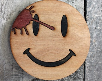 The Comedian Wood Coaster | Rustic/Vintage | Hand Stained and Glued | Comic Book Gift | Watchmen