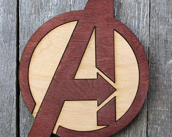 Avengers Logo Wood Coaster | Rustic/Vintage | Hand Stained and Glued | Comic Book Gift