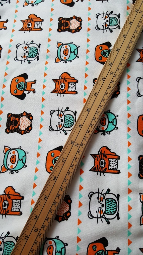 Bright Funky Animals French Terry fabric