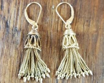 1900's Edwardian 14k Gold Tassel Earrings