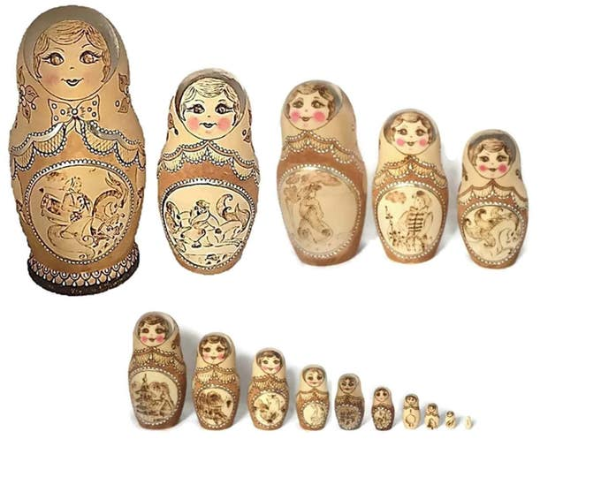 "Fairy Tale Babushka Doll Matryoshka Stacking Dolls Set of 15 | Signed Matryoshka ""Masha"" year 1994 Master Ivanovna Ira 