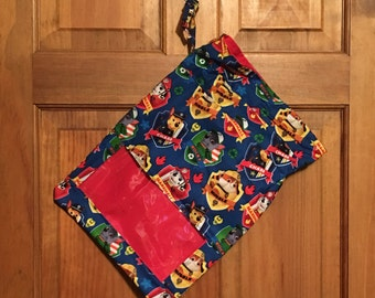 PAW PATROL Reversible Drawstring Tote with See-Through Window: Cinch Toy Sack