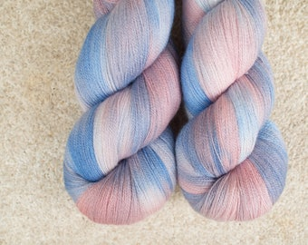 Hand Dyed 80/20 Extra Fine Merino/Silk Lace Weight Yarn - 2ply - 100 grams - 1200m/1312yards - Winter Sunrise