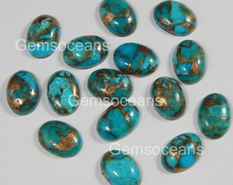 10 Pieces Lot Blue Copper Turquoise 5X7 mm Oval Shape Gemstone Cabochon