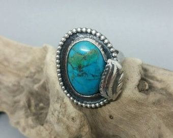 Turquoise sterling silver statement ring, aqua blue ring, silver ring, boho jewellery, statement jewellery, ooak, uk seller
