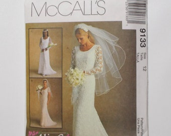 McCalls 9133 Bridal Gown Pattern Size 12 Lace Wedding Dress Uncut Alicyn Exclusive 1997
