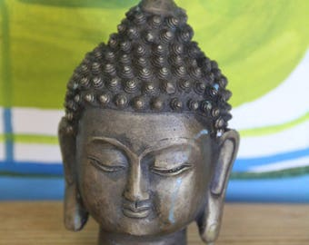 Vintage Brass hand-made Buddha Head  sealed base with stamp