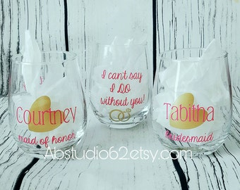 Will You be my Bridesmaid Wine Glass, Bridesmaid Proposal, Wedding Party Favors, Bridesmaid Gift, Bridal Party Favors, Stemless Wine Glass