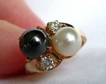 Pearl .20ct Diamond Hematite Gold Twist Ring * Pearl Diamond Gold Ring * Hematite Diamond Gold Ring * 10k Gold Pearl Diamond Ring*4.09 Grams