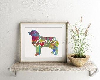 Australian Shepherd (Aussie) Love - Colorful Watercolor Print for Dog Lovers - Dog Breed Gift - Can Be Personalized With Name - Pet Memorial