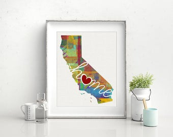 California Love - CA - A Colorful Watercolor Style Wall Art Hanging & State Map Artwork Print - College, Moving, Engagement, and Shower Gift