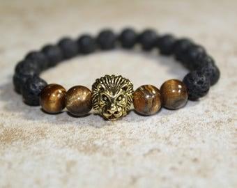 Lava beads bracelet,Lion bracelet,Men bracelet,Man bracelet,zodiac jewelry,zodiac,zodiac bracelet,lion head,leon,leo,ojo de tigre,pulsera