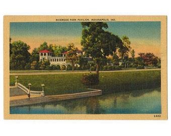 Indianapolis Indiana vintage linen postcard | Riverside Park Pavilion, White River | 1930s IN travel souvenir, vacation scrapbook, hometown