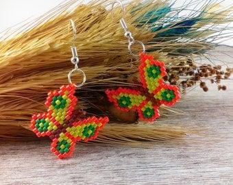 Dangle earrings Boho earrings Gold earrings Butterfly earrings Orange jewelry Orange earrings Gold butterfly jewelry Butterfly wings