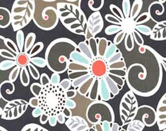 Half Yard - Floral Fling Sea - Michael Miller,  Quilting Cotton Fabric, Orange, Brown, Tan, Aqua,   Yardage