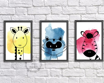 Woodland Animal Outline Nursery Wall Art, Nursery Decor, Colored Watercolor Digital, Instant Download, Printable