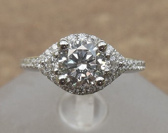 Item111-Semi Mount Ring / Engagement Ring / 14K White Gold Ring / Diamond Halo Engagement Ring