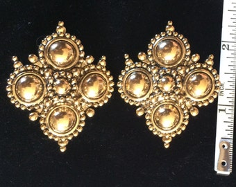 Vtg JOSE BARRERA Couture ADRIATIC Earrings Avon Etruscan-Style