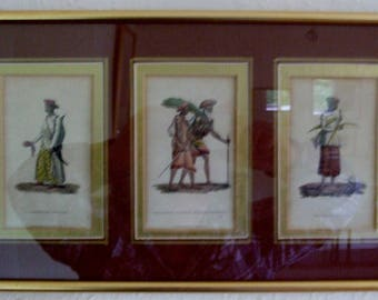 3 Antique Handcoloured engravings by Frederic Shoberl ,,  Published by Ackerman 1822 ,