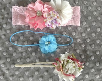 SALE!!! Set of Three Skinny Elastic and Lace Headbands Pink Purple Turquoise Newborn-3 Months