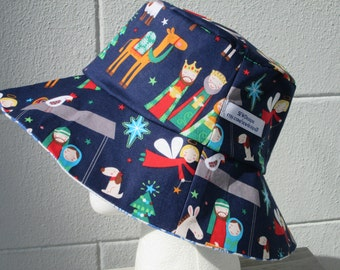 """Bucket Hat 24"""" XLarge Christmas Nativity, 3 wise men, manger, Mary and Joseph, silver star"""