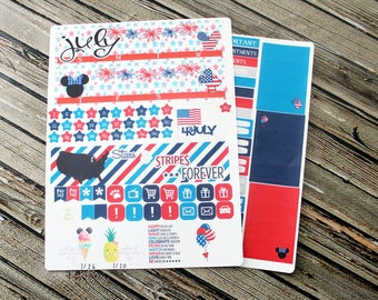 July Monthly View Kit - 4th of July Kit - Monthly Layout Kit - Full Kit Month Layout - Red White Blue