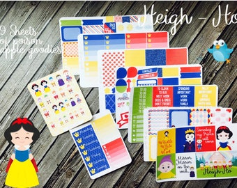 Heigh Ho Weekly Planner Stickers Full Kit - Planner Stickers No White Space - Vertical Planner - Princess Planner