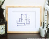 X-files - Agent Fox Mulder's Apartment Blueprint Poster - Famous TV Show Floor Plan - NBC Today Show Featured Artist! Gifts under 50