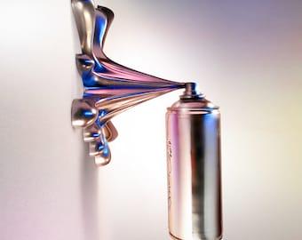 Silver Splash Spraycan Graffiti Sculpture