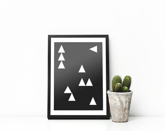 Black and white geometric  triangle A4 print poster modern art