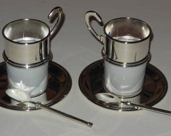 International Silver Co Demitasse Candle Cup 6 Pc Set Cappucino Espresso in Box
