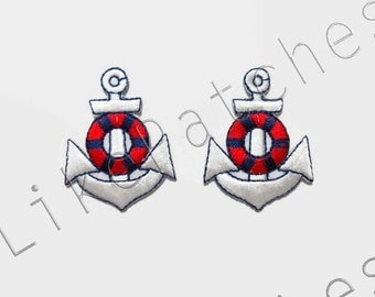 Set 2pcs. Anchor - White Color - New Sew / Iron On Patches Embroidered Applique Size 3.2cm.x4.2cm.