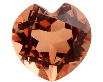 Imperial Orange Triplet Quartz Heart Cut Loose Gemstone 1A Quality 11mm TGW 5.20 cts.