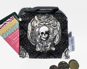 Coin Purse, Skull, Gothic, Credit Card Holder, Cosmetics Bag, Jewellery Pouch, Gift Card Holder, gadget pouch, teabag wallet, gifts for her