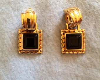 Signed Givenchy Gold Dangle Clip-on Earrings