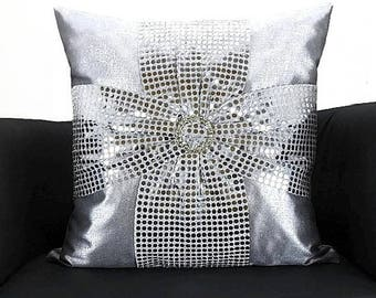 sequin bow silver throw pillow cover 18x18 u2013 glitter silver metallic luxury chair toss cushion cover