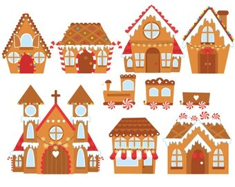 Christmas Gingerbread Houses Digital Clipart Set - Instant Download - Personal and Commercial Use