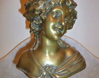 Antique French bronze bust of a lady on marble base – circa 1880
