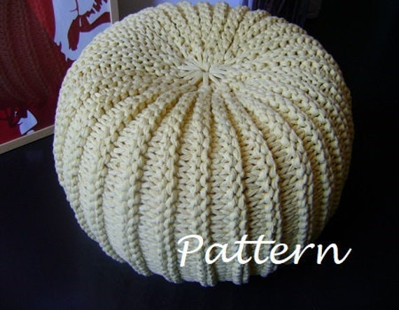 knitting pattern tutorial xxl pouf poof ottoman footstool. Black Bedroom Furniture Sets. Home Design Ideas