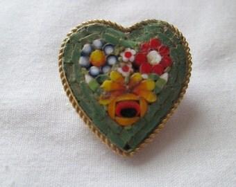 Italy Micro Mosaic Heart Brooch Pin Flowers